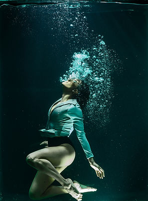 Deep breath swimming woman