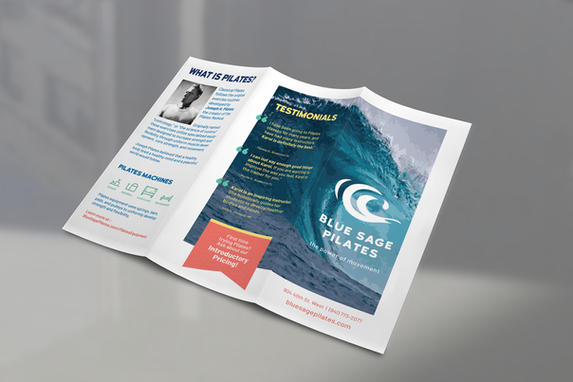 Blue Sage Pilates water logo brochure design