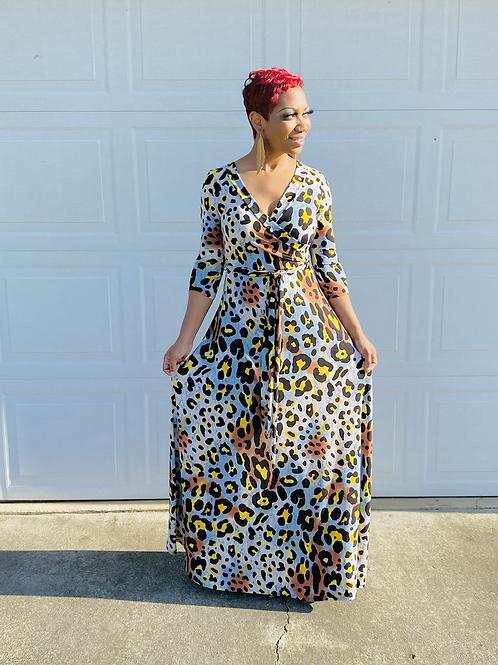 Leopard Twist Maxi Dress