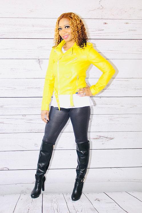 Lime Faux Leather Moto Jacket