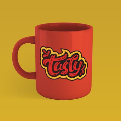 Big Alien Studios coffee mug tasty design from Clay Schmidt Creative illustrative logo design and hand lettering design