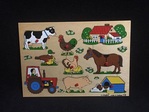 Simplex Wood Puzzle Farm Animals 507  Small Knob Puzzle Vintage