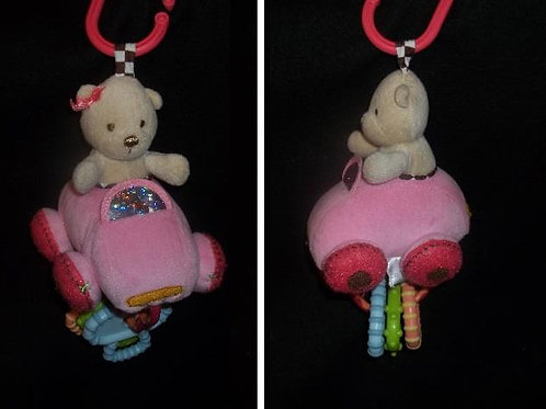 Carters Take along Bear in Pink Car with Keys