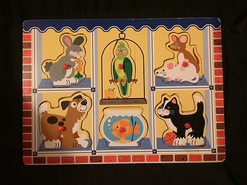 """""""Fun with Pets"""" Wooden Peg Puzzle"""