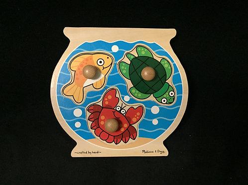 Melissa & Doug Animals Jumbo Knob Wooden Puzzle - Fish