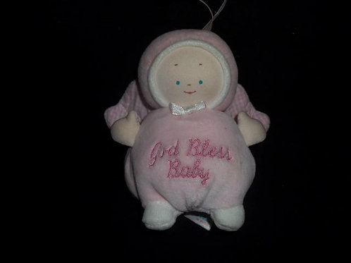 Gund Baby Pink God Bless Baby Angel Rattle
