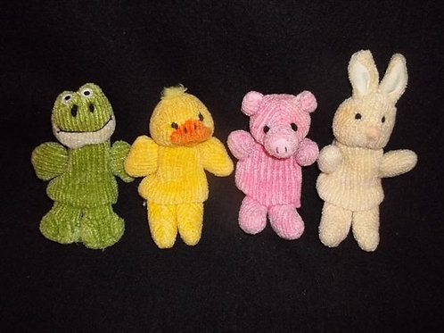"Full Body Cloth Finger Puppets 4"" Set of 4"