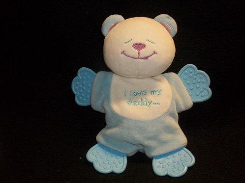 Blue Plush  Bear teether - Blue I love my daddy,,,