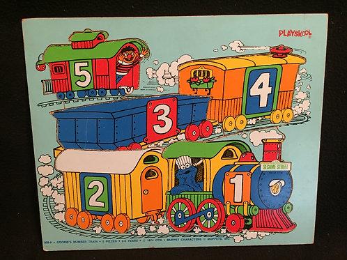 Playskool Sesame Street puzzle Cookie's Number Train *Vintage 1974