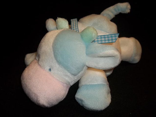 "SOFT DREAMS Blue White Pink COW 8"" Laying Down"
