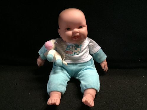 Berenguer Baby Doll Blue Eyes Blue Outfit Cow Toy 14""