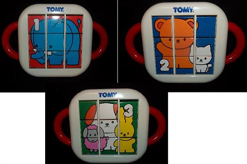 Tomy 1 - 2 - 3 Flip A Tile Picture Puzzle With Car 1992