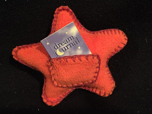 Star-shaped pillow with a pocket