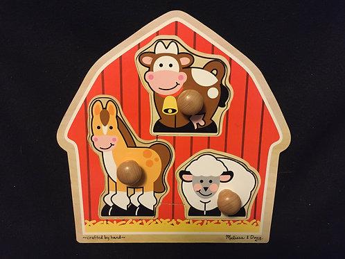 Melissa & Doug Wooden Barnyard Animals Jumbo knob