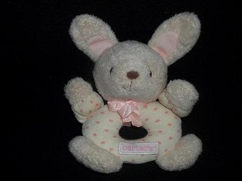 "Carters Bunny Rabbit Round hand rattle 7"""