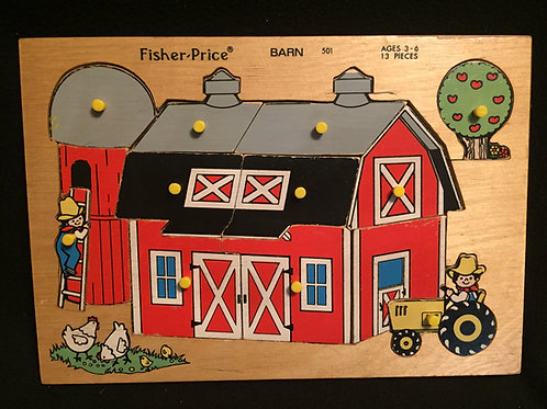 Fisher Price Wood Peg Puzzle #501 Barn Farm *Vintage1970's