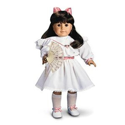 American Girl Tea Dress with white party slippers