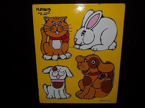 Wooden Playskool My Pets / Water Pals Puzzle(1982)