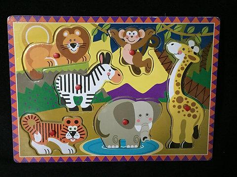 Melissa Doug Jungle Wooden Peg Puzzle