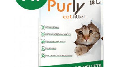 Purly Litière pour chat granulés de bois 18L
