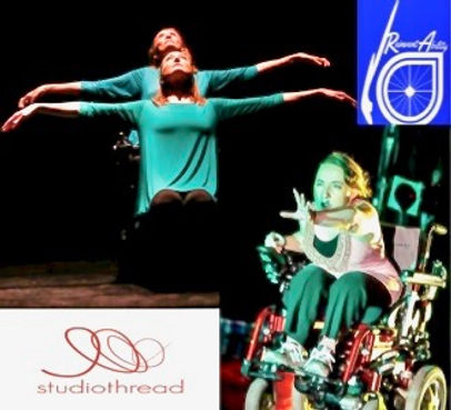 4 images, 2 dancers gazing up with arms outstreacher, a wheelchair dancer urgently reaching, ReinventAbility & studiothread logos