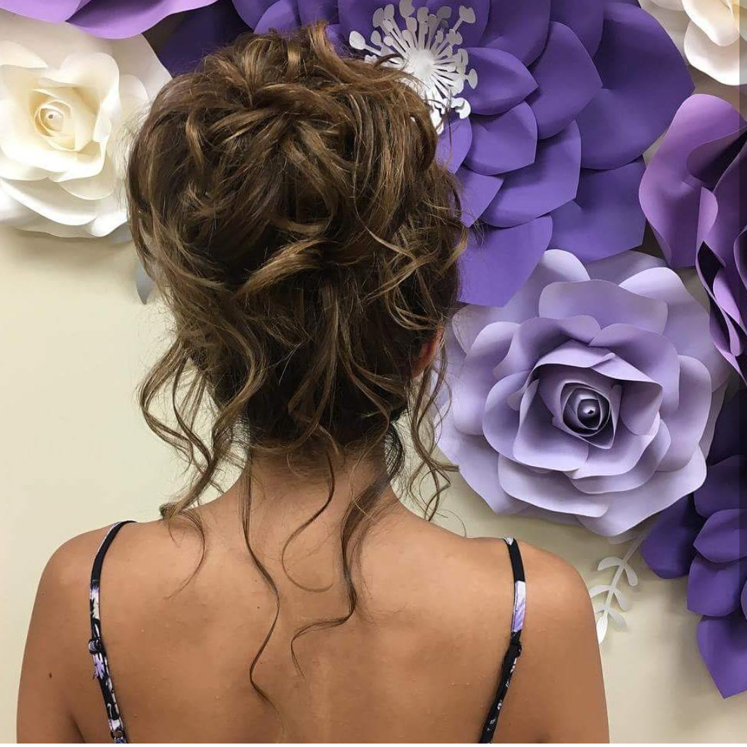 High Updo with Flowing Curls