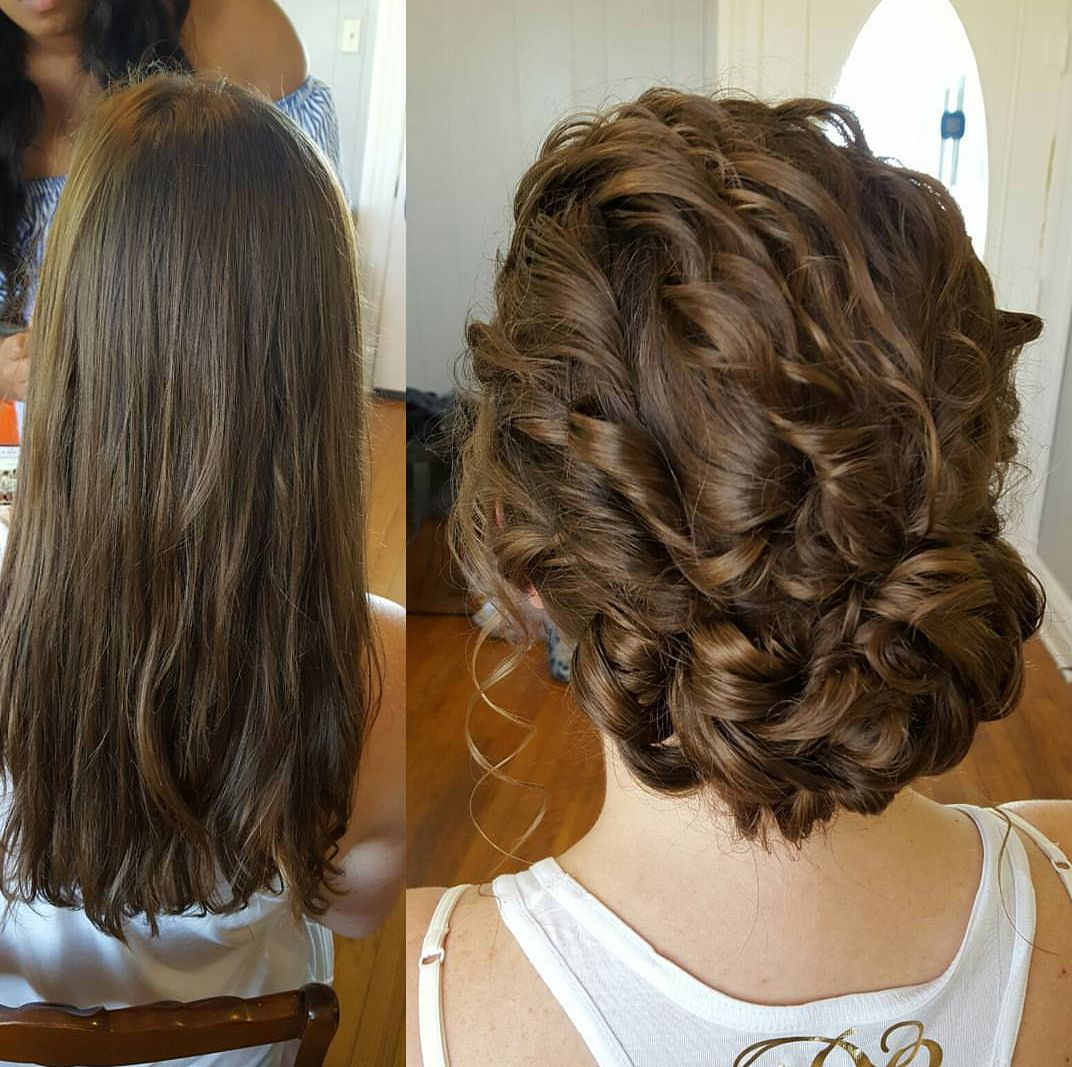 Curly Low Side Updo