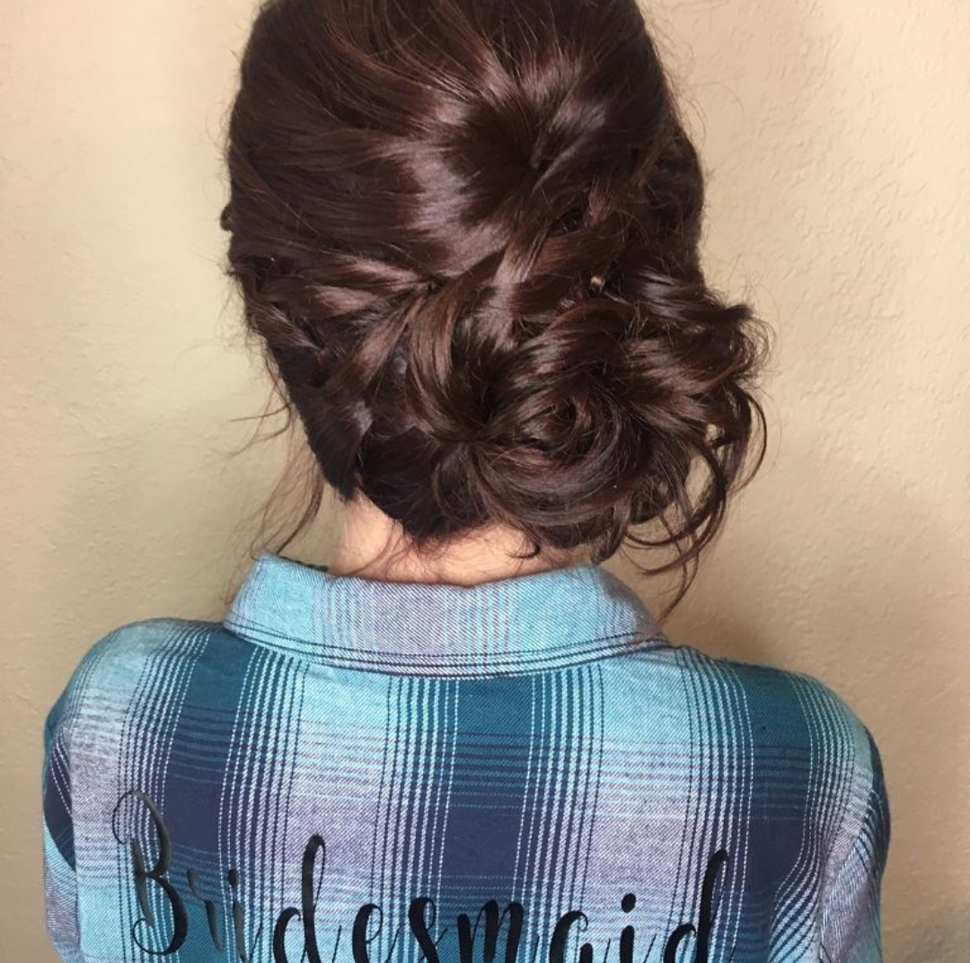 Side Bun Bridesmaid Hair Style