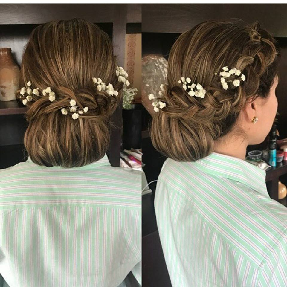 Low Bun Updo with Flowers