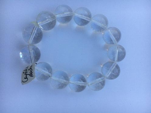 Bracelete de cristal de rocha transparente 12mm