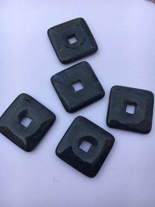 Donut quadrado de Dumortierita para pingente de 21 mm