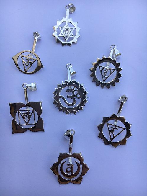 Conjunto de Pingentes em prata 920 os 7 Chakras