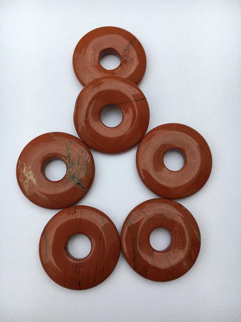 Donut de Jaspe vermelho para pingente de 21mm