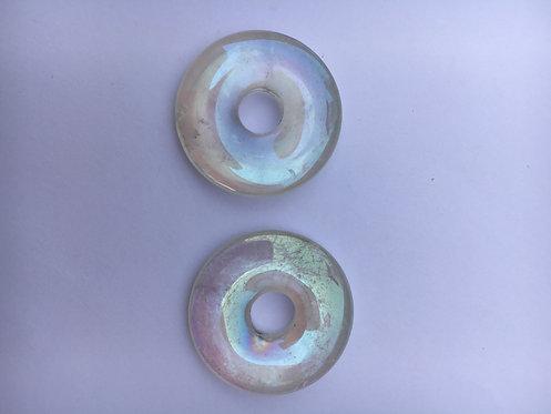 Donut de Cristal de Quartzo furta-cor para pingente de 21 mm