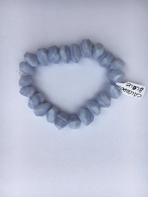 Bracelete de Calcedônia azul  oval 12mm