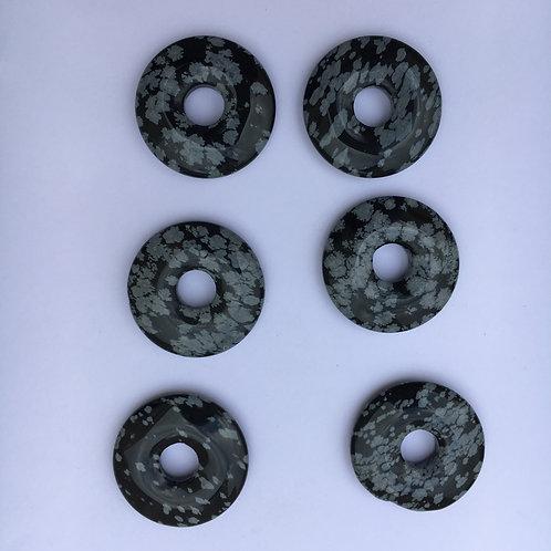 Donut de Obsidiana Flocos de Neve para pingente de 21mm