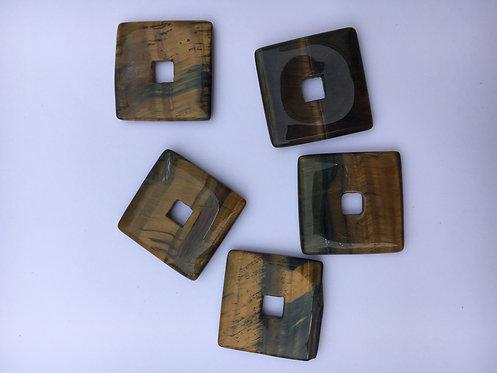 Donut quadrado de Olho de Tigre para pingente de 21 mm