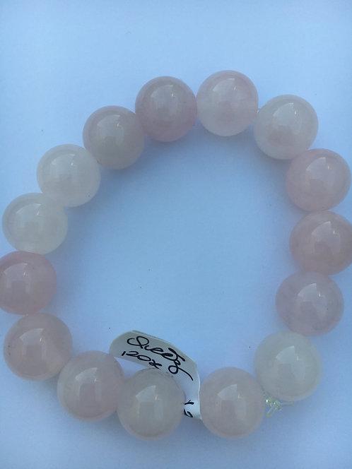 Bracelete de quartzo rosa 12mm