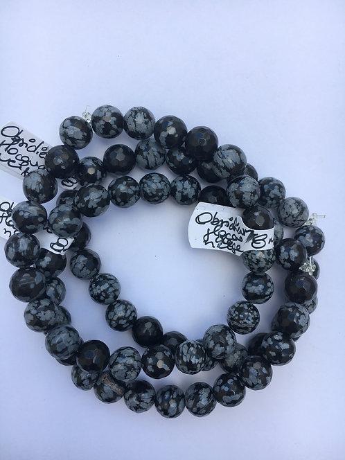 Bracelete de Obsidiana flocos de neve 8mm