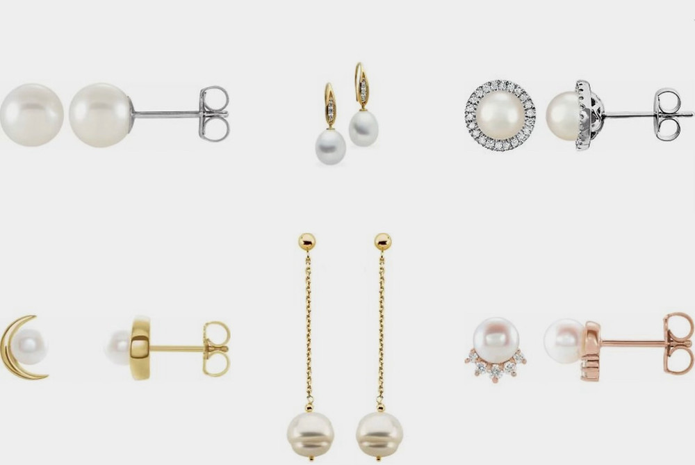 selection of classic and trendy pearl studs and drop earrings in white yellow and rose gold