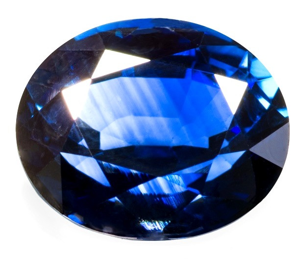 oval cut blue sapphire on white background showing colour zoning