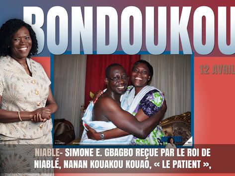 MADAME SIMONE EHIVET GBAGBO REÇUE PAR LE ROI DE NIABLÉ, NANAN KOUAKOU KOUAO, « LE PATIENT »