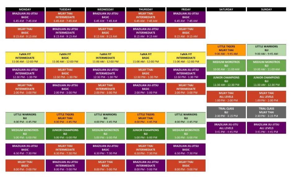 fama singapore modified class schedule june 29