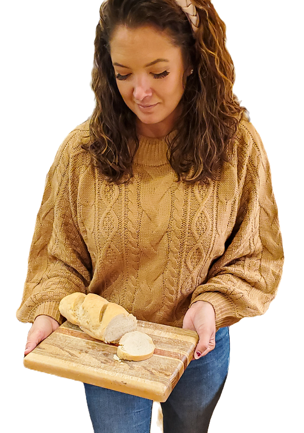 holding loaf of soft italian bread