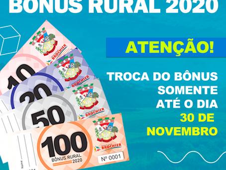 Bônus Rural 2020 - Atenção para data limite de troca.
