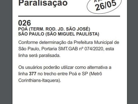 Paralisação das linhas 026,205 E 328.