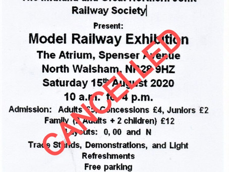 CANCELLED Model Railway Exhibition 15th August 2020