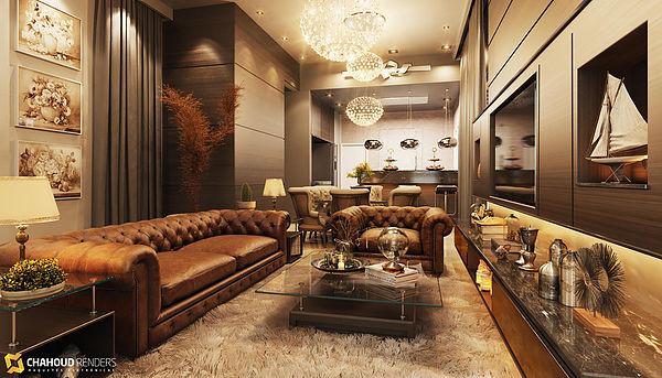 Renderização 3D interior de uma casa feito por Gabriel Chahoud