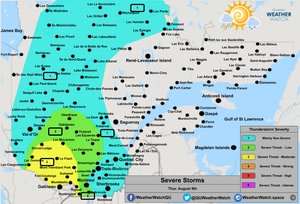 Thunderstorm Forecast, for Southern Quebec. Issued August 8th, 2019.