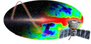 A ilustração representa o satélite Cobe (sigla em inglês para Explorador Cósmico de Fundo)